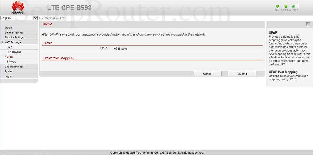 Huawei B593 Screenshot UPnP