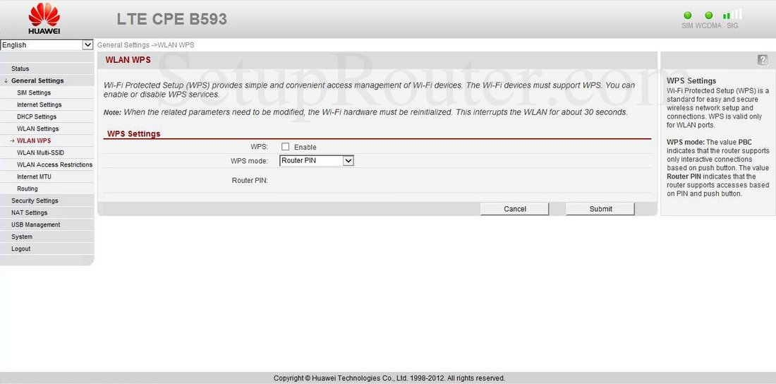 Huawei B593 Screenshot WLAN WPS
