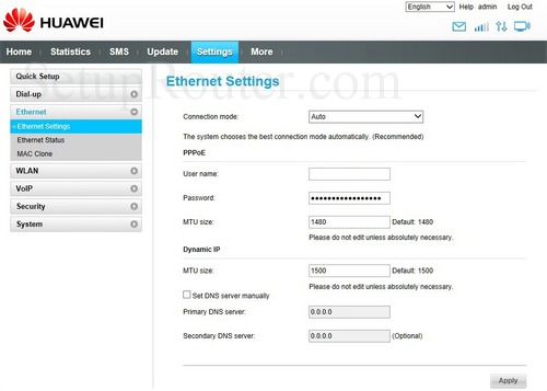 How to change the DNS settings on the Huawei E5186s-22a