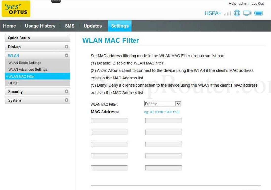 Huawei E5331 Screenshot WLAN MAC Filter