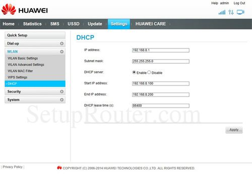 How to change the ip address of the Huawei E8231s-1