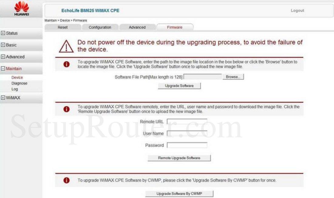 Huawei EchoLife-BM625 Screenshot Firmware
