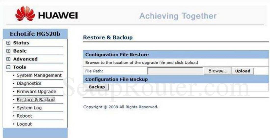 Huawei Echolife-HG520b Screenshot Restore and Backup