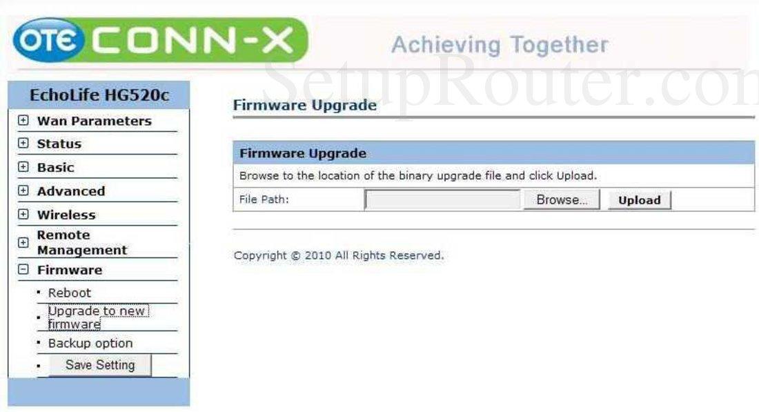Huawei EchoLife-HG520c Screenshot Firmware Upgrade