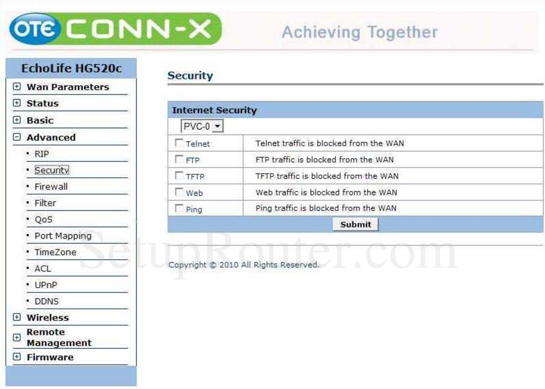 Huawei EchoLife-HG520c Screenshot Security
