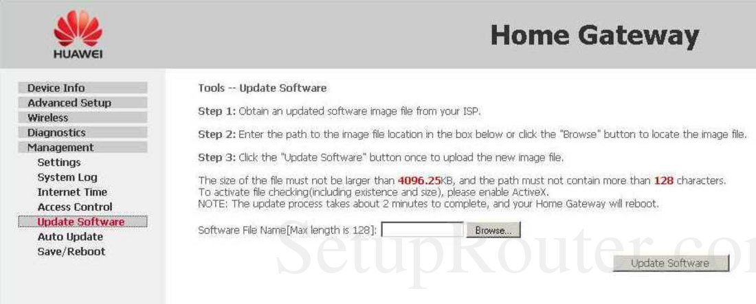Huawei EchoLife-HG520v Screenshot Tools - Update Software