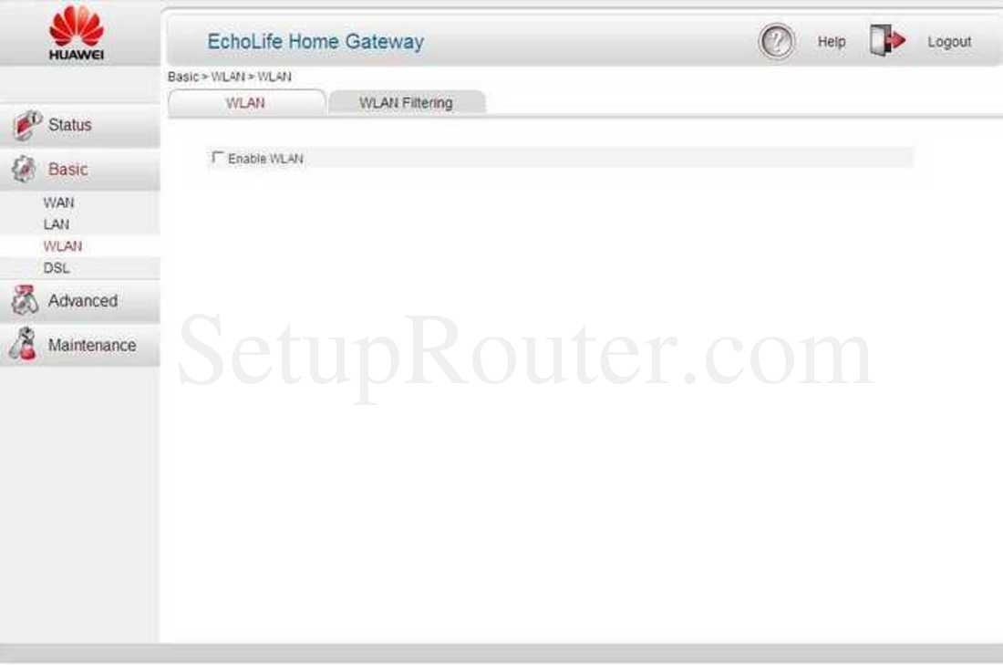 Huawei EchoLife-HG521 Screenshot Basic WLAN