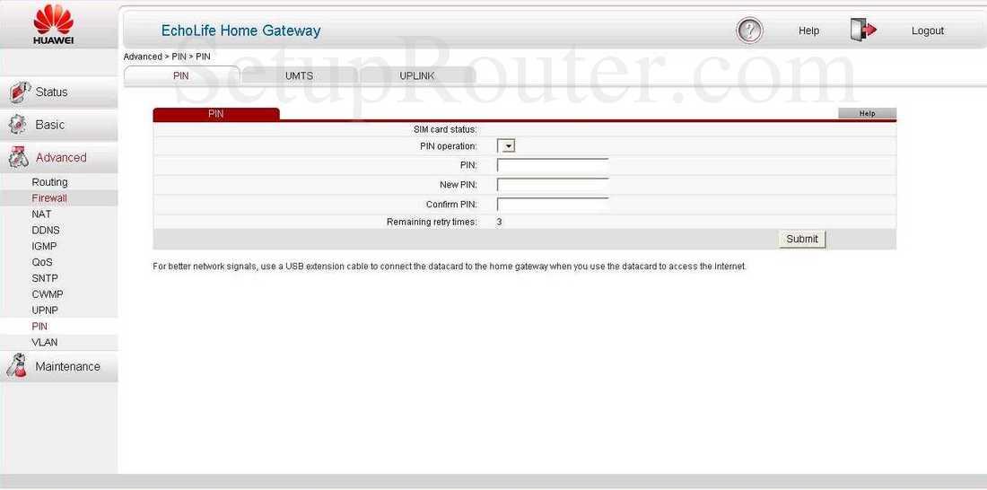 Huawei EchoLife-HG532 Screenshot PIN