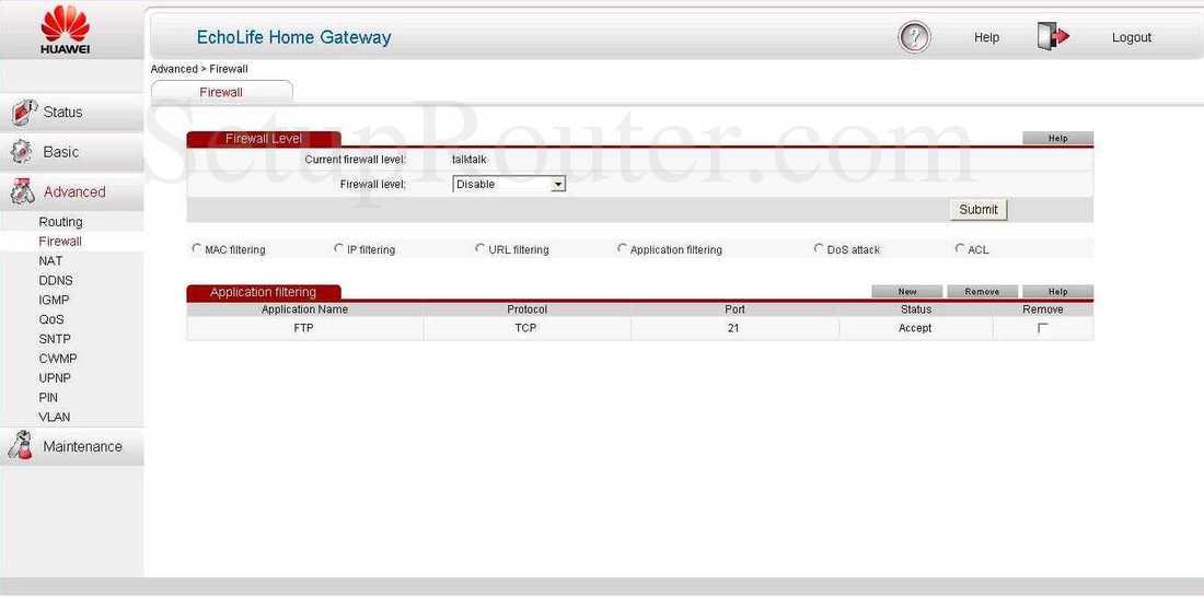 Huawei EchoLife-HG532 Screenshot Application Filtering
