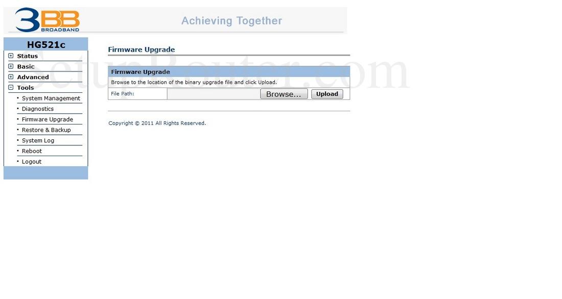 Huawei HG521c Screenshot FirmwareUpgrade