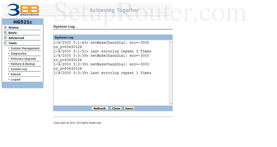 Huawei HG521c Screenshot SystemLog