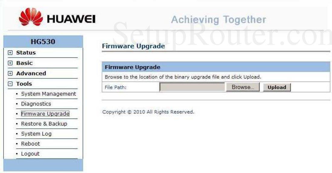 Huawei HG530 Screenshot Firmware Upgrade