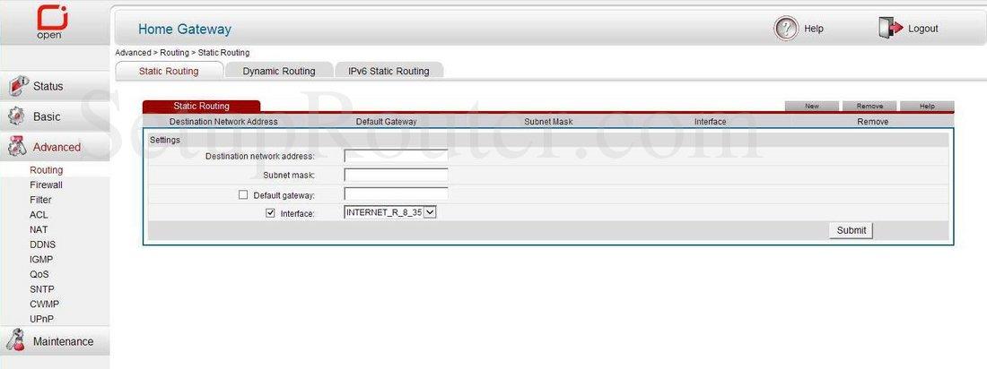 Huawei HG532e Screenshot StaticRouting