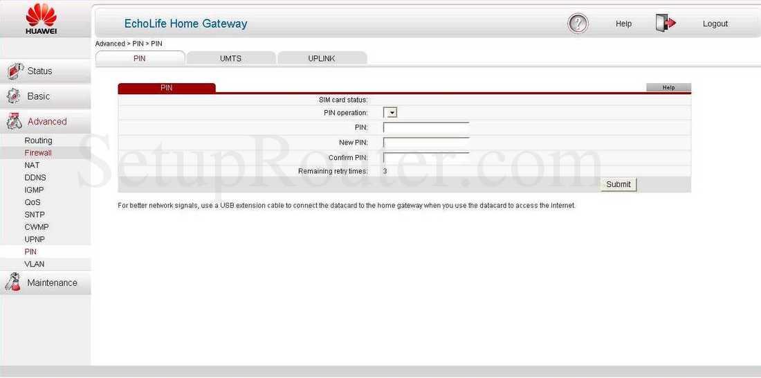 Huawei HG532s Screenshot PIN