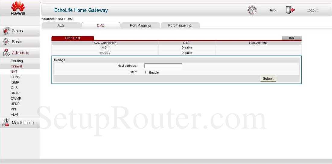 Huawei HG532s Screenshot DMZ