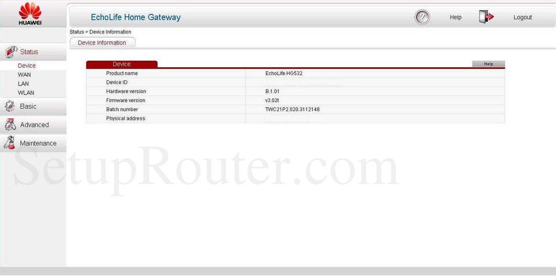 Huawei HG532s Screenshot DeviceInformation