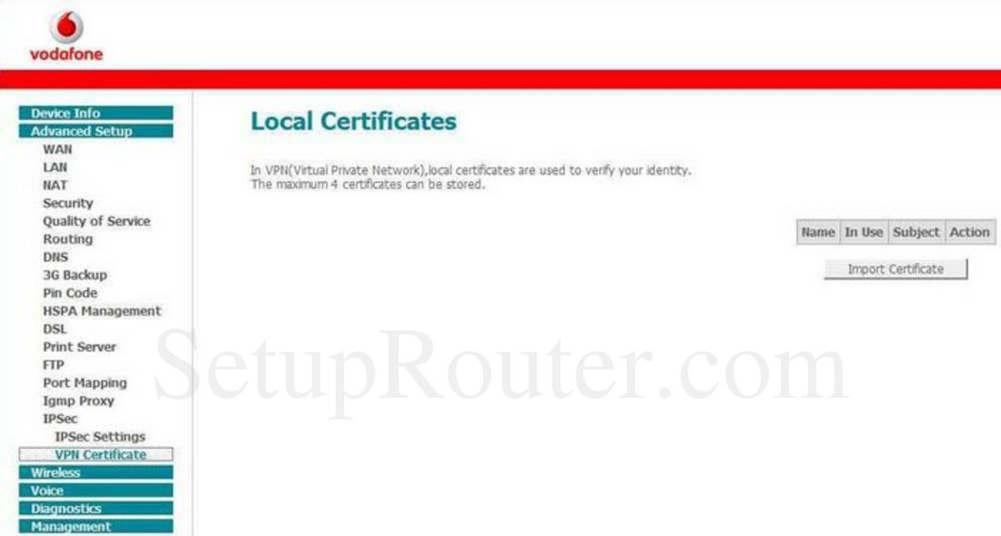 Huawei HG556a Screenshot VPN Certificate
