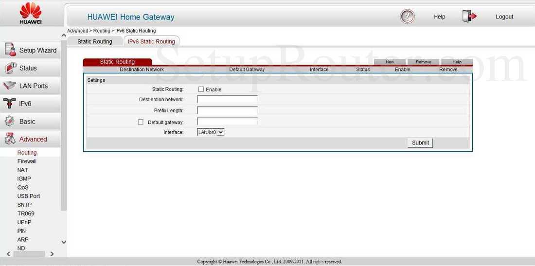 Huawei HG622u Screenshot IPv6 Routing