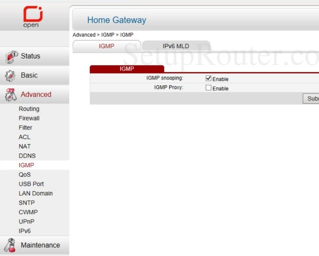 Huawei HG630 Open Screenshot IGMP
