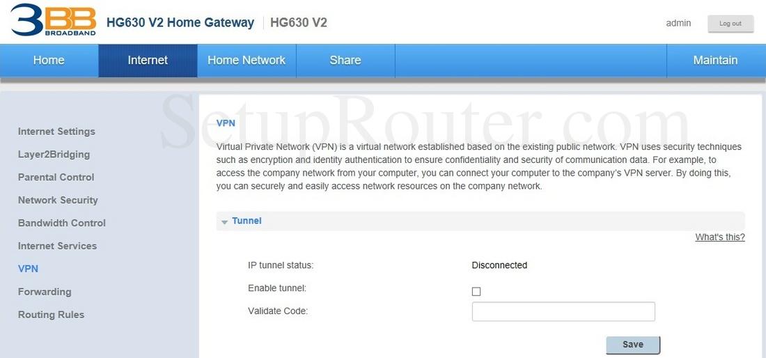 Huawei HG630 V2 3BB Screenshot VPN