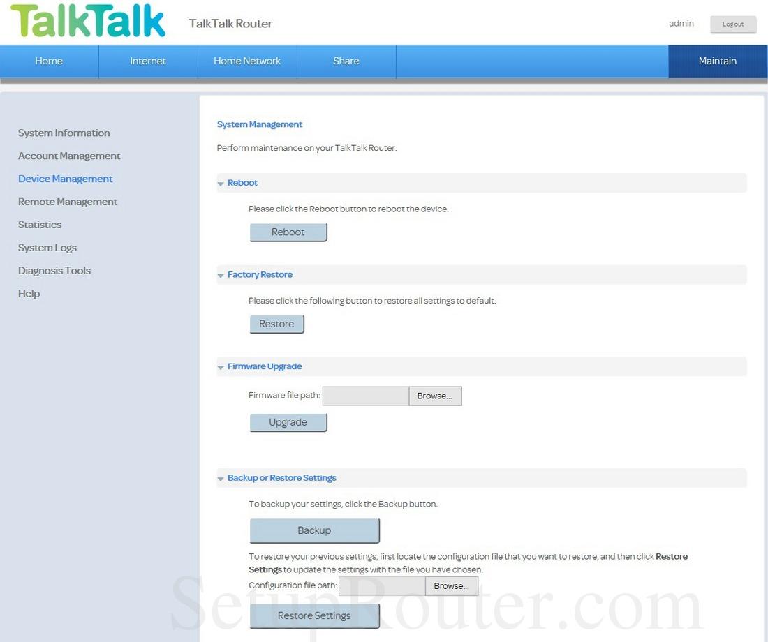 Huawei HG633 TalkTalk Screenshot DeviceManagement