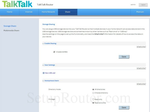 Huawei HG633 TalkTalk Screenshots