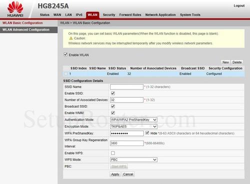 Setup WiFi on the Huawei HG8245A