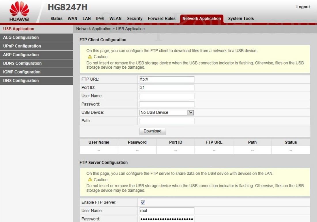 Huawei HG8247H Screenshot USBApplication