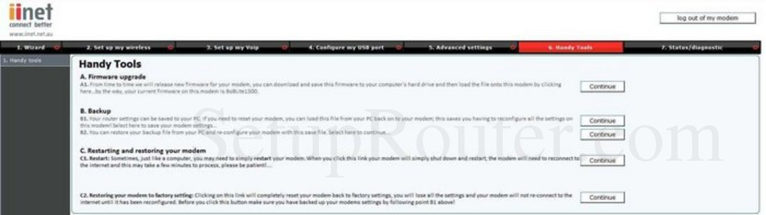 iiNet BoB Lite Status Router Screenshot - PortForward.com