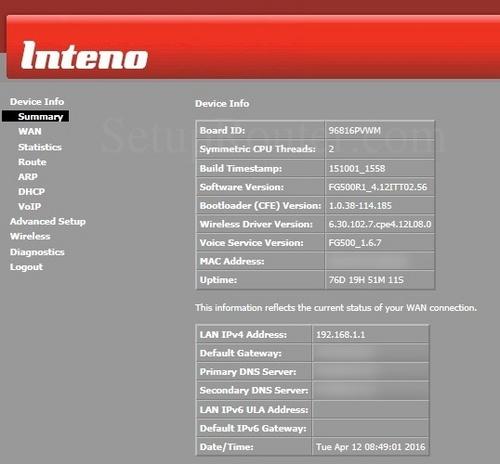 inteno fg500 default admin password