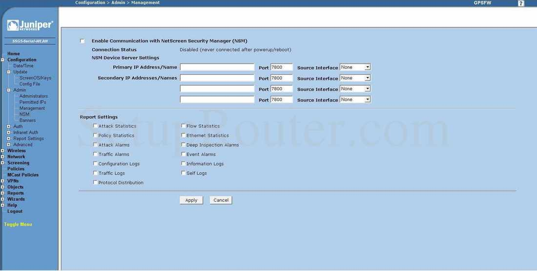 Juniper SSG5 Screenshot NSM
