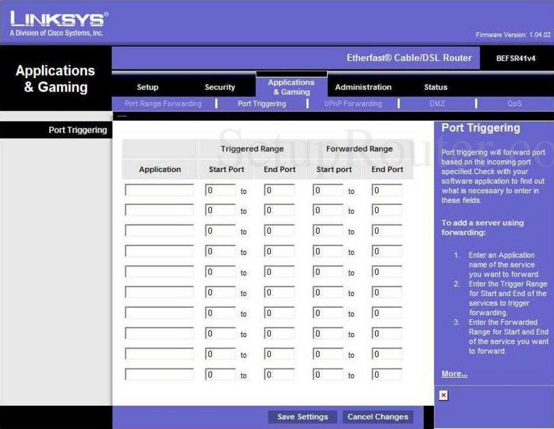 Linksys befsr41v4 log router screenshot portforward. Com.