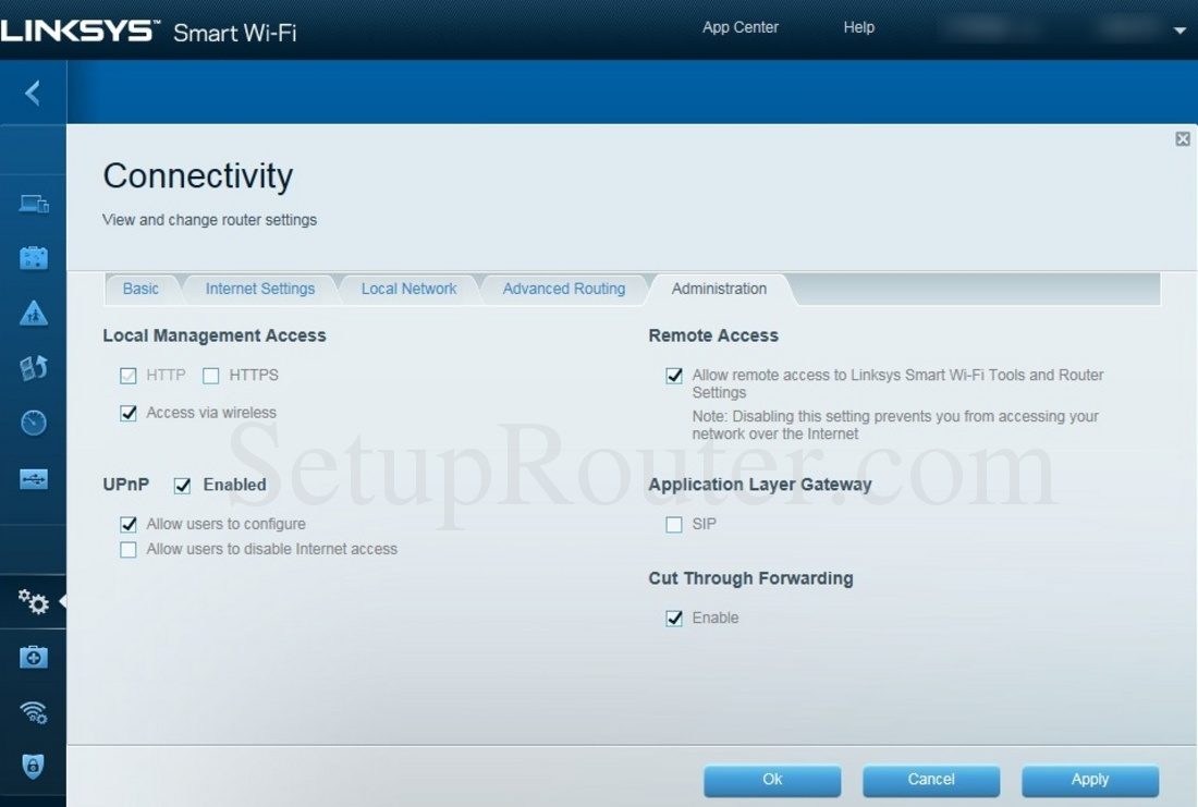 Linksys EA6350 Screenshot Administration