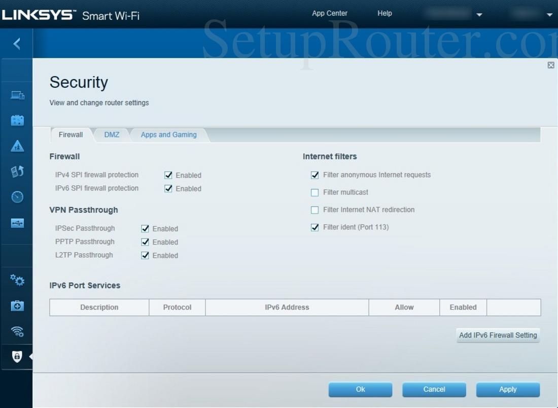 Linksys EA6400 Screenshot Firewall