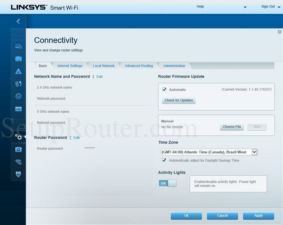 Linksys EA6400 Screenshot ConnectivityBasic