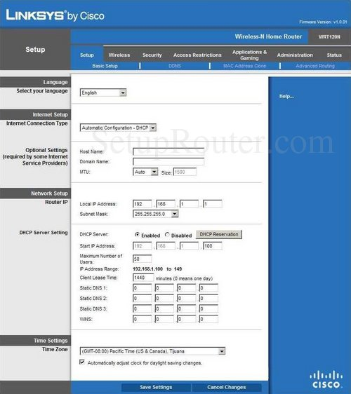 Linksys Router Login >> How To Login To The Linksys Wrt120n