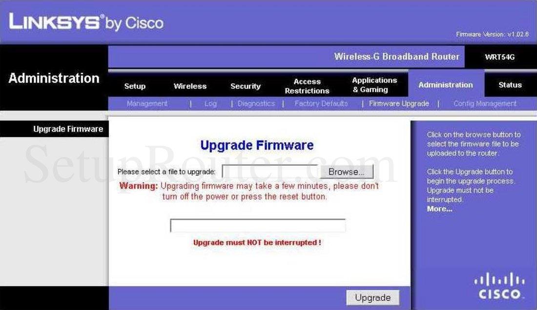 Instalar firmware stock en router linksys wrt54g v5 / v5. 1 / v6.