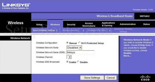 Setup WiFi on the Linksys WRT54G2