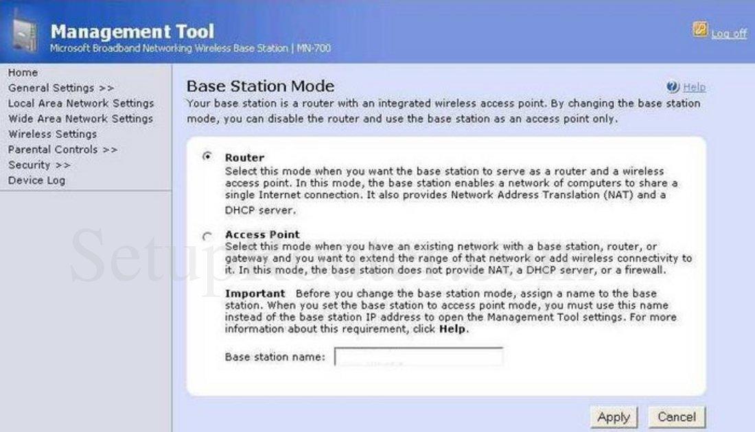 Microsoft MN-700 Screenshot Base Station Mode