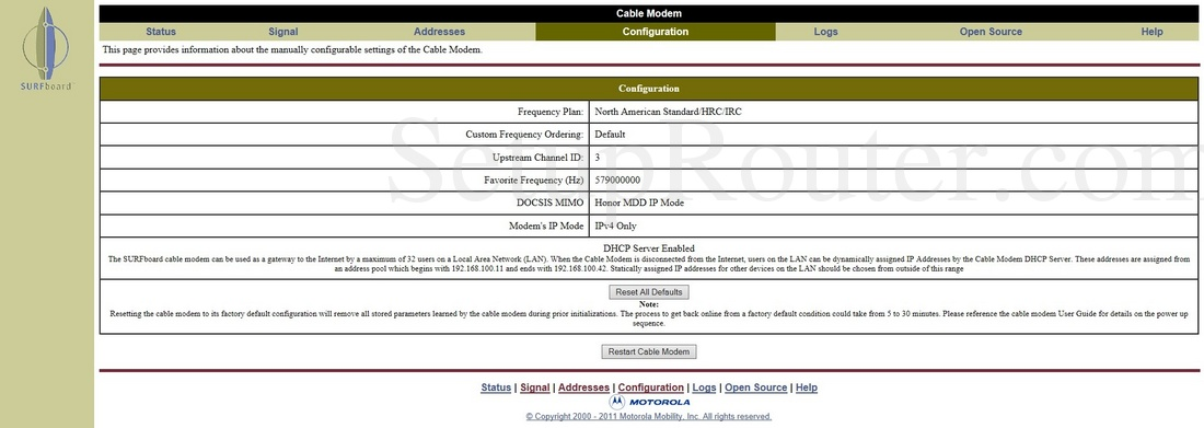 motorola sb6121 screenshot configuration rh setuprouter com Motorola SB6120 Motorola Modem SB6121