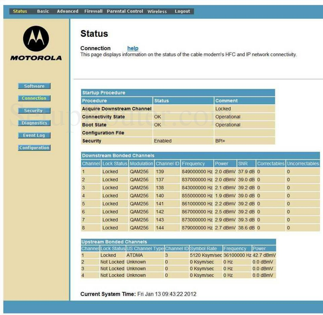 Motorola Sbg6580 Screenshot Connection Status