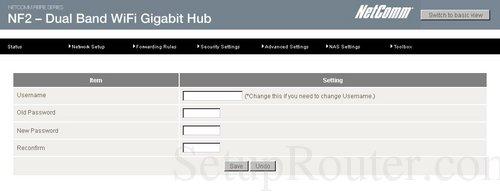 how to change router password netcomm
