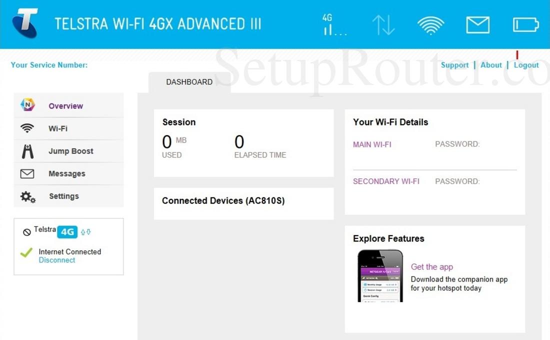 Netgear AirCard 810S Screenshot Overview