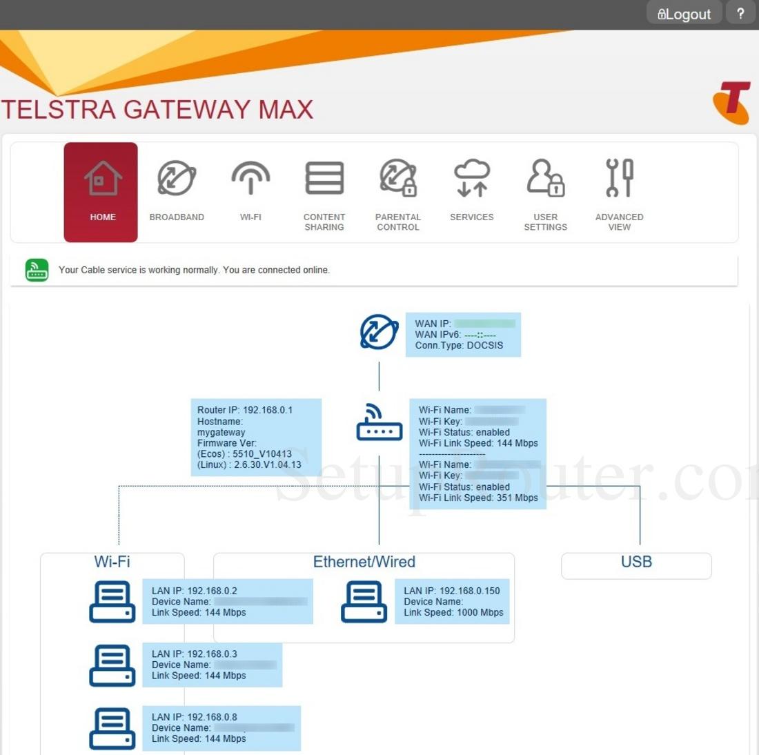 Netgear C6300BD-202 Telstra Screenshot Home