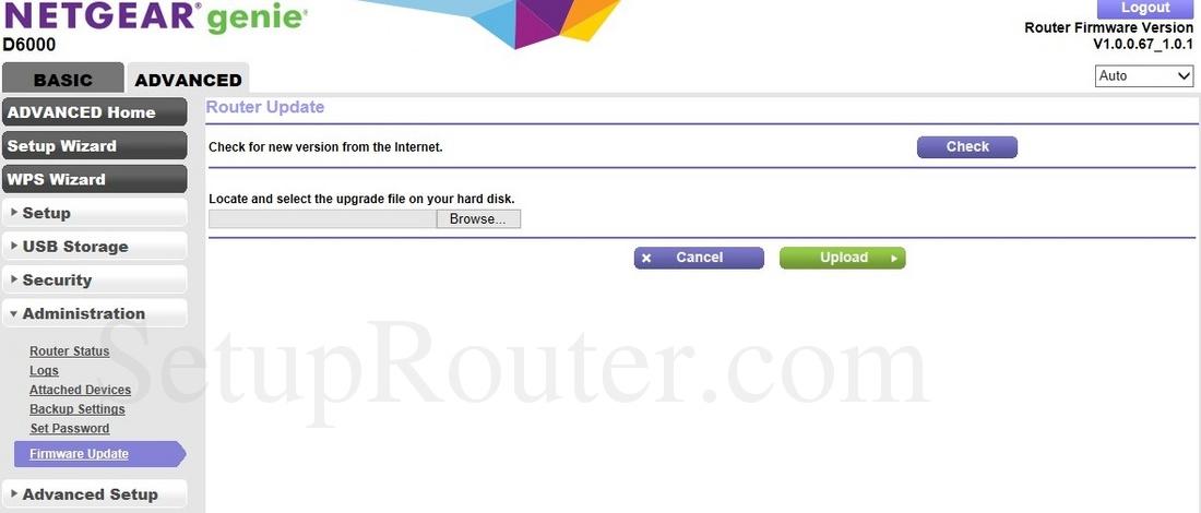 Netgear D6000 Screenshot FirmwareUpdate