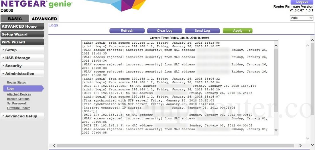Netgear D6000 Screenshot Logs