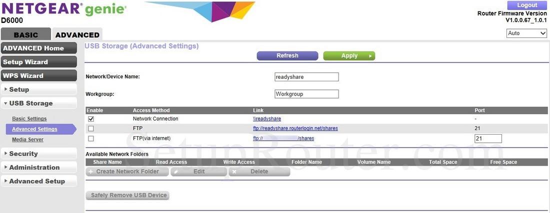 Netgear D6000 Screenshot USBStorageAdvancedSettings