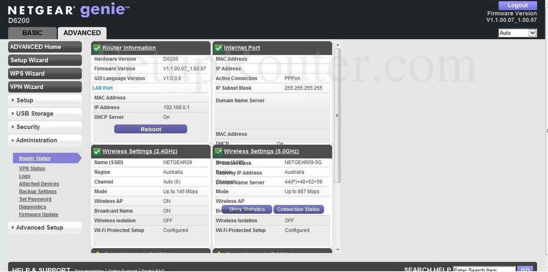 Netgear D6200 Screenshot RouterStatus