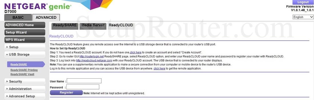 Netgear D7000 Screenshot ReadyCLOUD