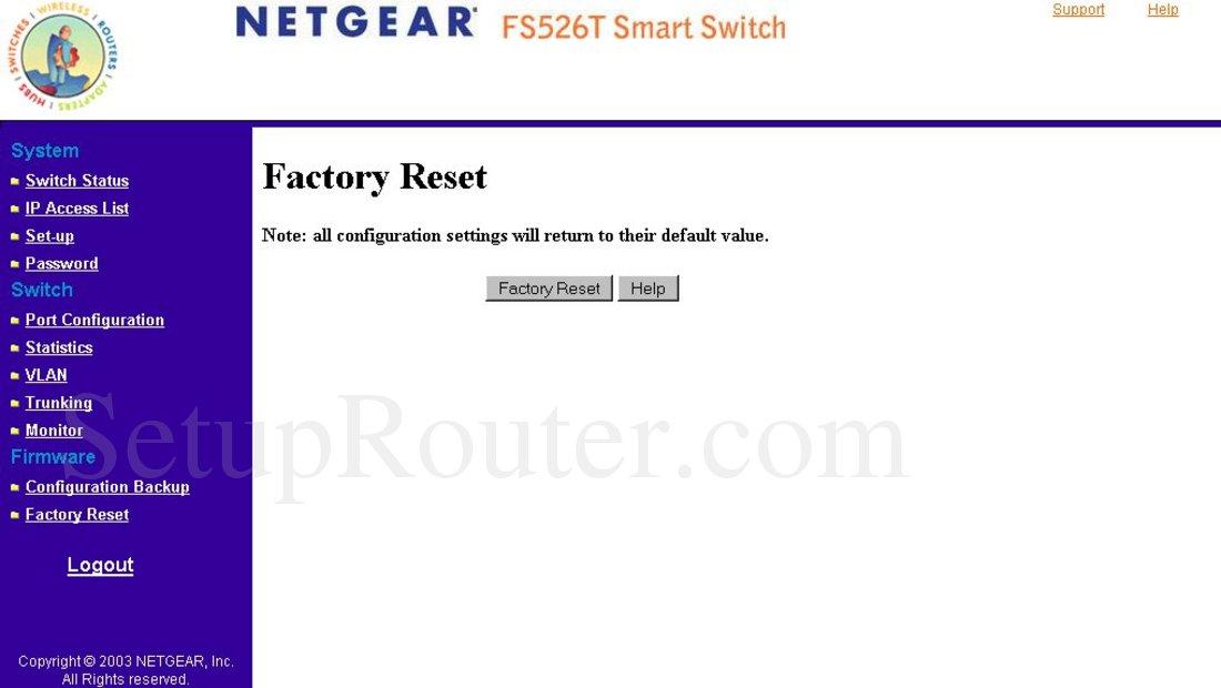 Netgear FS526T Screenshot Factory Reset